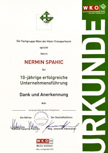 WKO Auszeichnung für Traditionsbetriebe – 10 Jahre Profi Umzug Wien